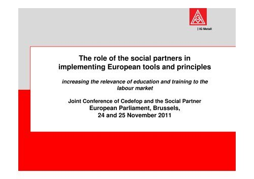 The role of the social partners in implementing European ... - Europa