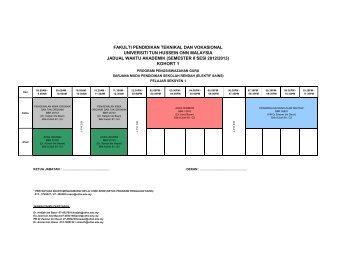 Jadual Pengajian Elektif Sains - FPTV - Universiti Tun Hussein Onn ...