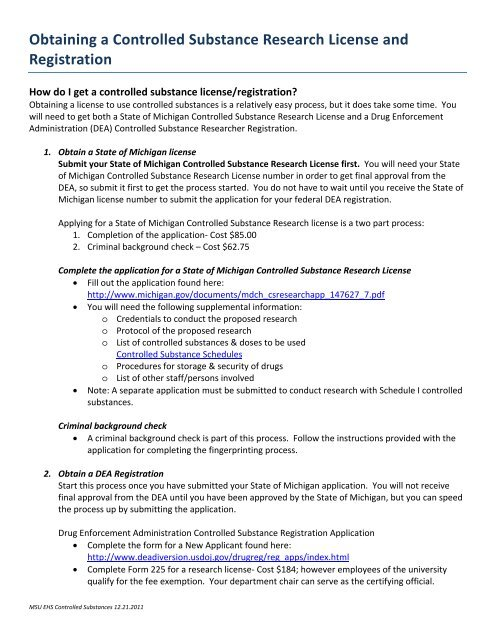 Obtaining a Controlled Substance Research License and