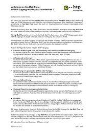 Anleitung zu htp Mail Plus - IMAP4-Zugang mit Mozilla Thunderbird 3