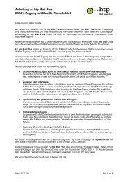 Anleitung zu htp Mail Plus - IMAP4-Zugang mit Mozilla Thunderbird