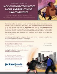 Boston Employment Law Update Brochure (Aug2013) - Jackson Lewis