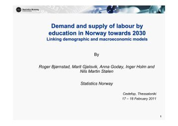 Demand and supply of labour by education in Norway towards 2030