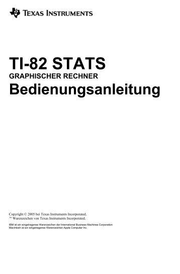 TI-82 STATS GRAPHISCHER RECHNER Bedienungsanleitung