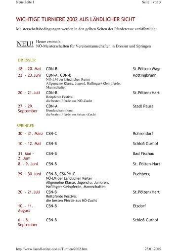 Turniere 2002 - Ländliche Reiter und Fahrer in Niederösterreich