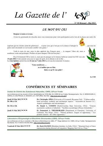 La Gazette N°50-Mensuel-mai 2012 - Historique de l'ICSN - CNRS