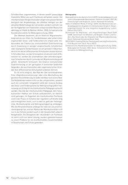 Broschüre Podium Pestalozzianum 2009