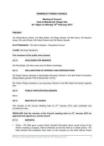 18th February 2013 Minutes - Shrop.NET