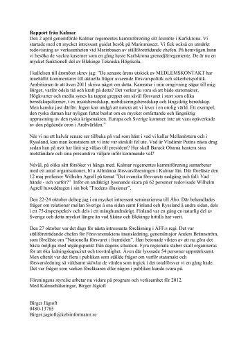 Rapport från Kalmar Den 2 april genomförde Kalmar regementes ...