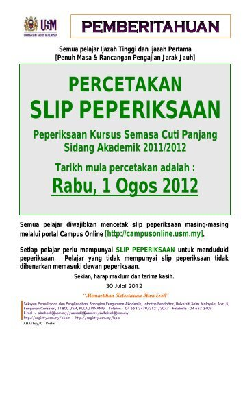 SLIP PEPERIKSAAN - Jabatan Pendaftar - Universiti Sains Malaysia
