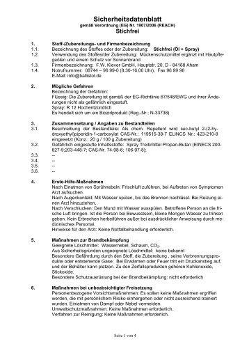 Sicherheitsdatenblatt - HUG-TECHNIK ERGOLDING