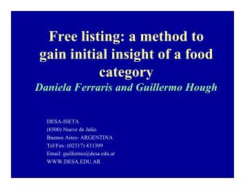 Free listing: a method to gain initial insight of a food category