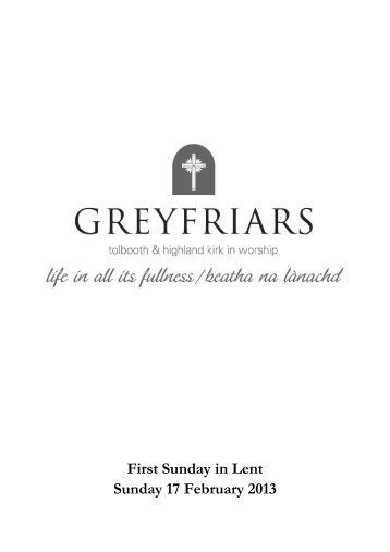 First Sunday in Lent Sunday 17 February 2013 - Greyfriars Tolbooth ...
