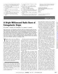 REPORTS A Bright Millisecond Radio Burst of Extragalactic Origin