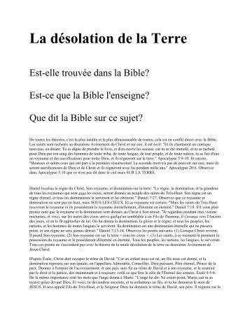 La désolation de la Terre - Church of God (7th Day)