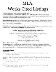 MLA: Works Cited Listings
