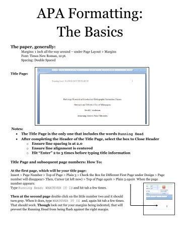 apa formatting the basics