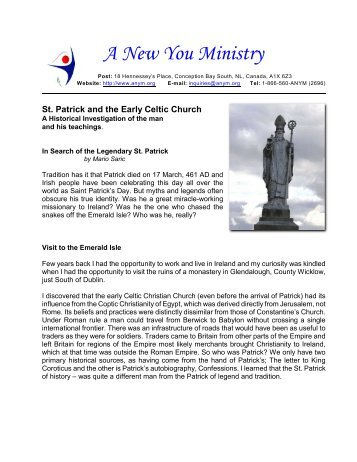 St. Patrick and the Early Celtic Church - A New You Ministry