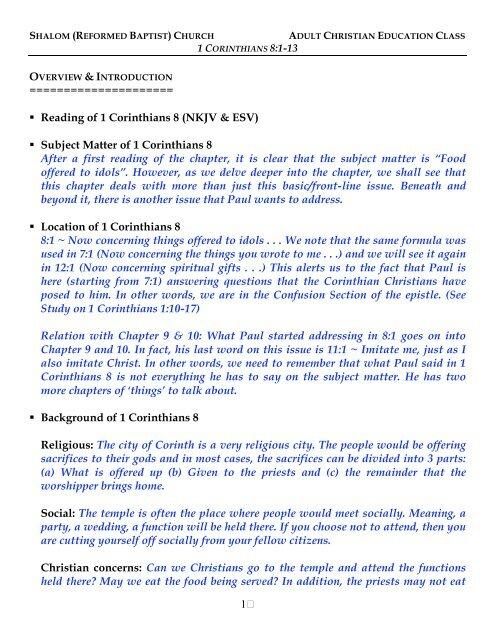 1 Corinthians 13 Wedding Reading.1 Corinthians C8 V1 13 Notes Shalom Church Singapore