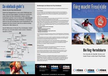 Info Broschüre zur Vorteilskarte hier downloaden - FÖRG