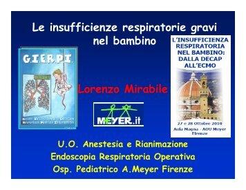 Le insufficienze respiratorie gravi nel bambino - Dott. Lorenzo Mirabile