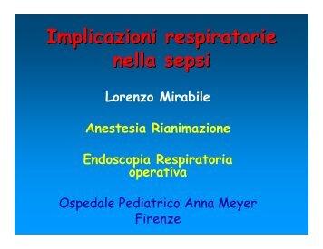 Implicazioni respiratorie nella sepsi - Dott. Lorenzo Mirabile
