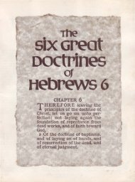Six Great Doctrines of Hebrews 6 - Church of God - NEO
