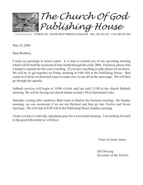 The Church Of God Publishing House - Church of God (7th Day)