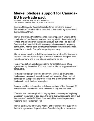 Canada Says Close To Agreeing Long Delayed Eu Free Trade Deal