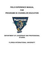 field experience manual for programs in counselor education