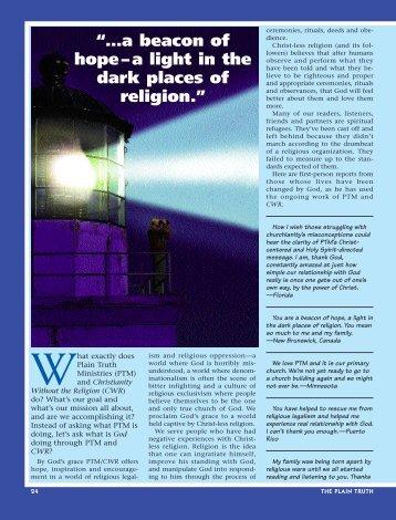 A beacon of hope... - Plain Truth Ministries