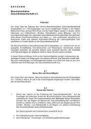 Satzung - Brancheninitiative Gesundheitswirtschaft Südwestfalen e.V.