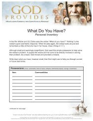 What Do You Have? Inventory - Crown Financial Ministries