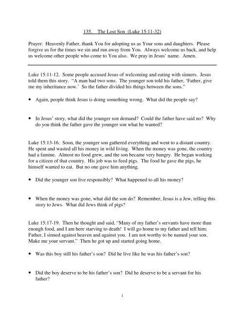 135  The Lost Son (Luke 15:11-32) Prayer     - Iowaeastdeaf org