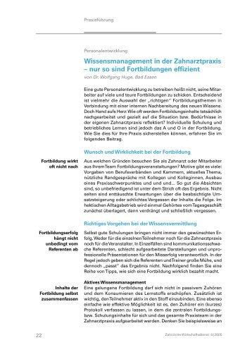 Wissensmanagement in der Zahnarztpraxis ... - Dr. Wolfgang Huge
