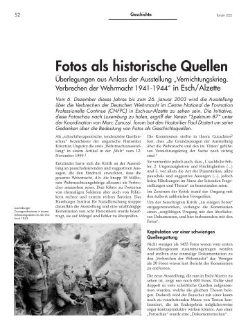 Fotos als historische Quellen - Forum