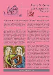 Pfarre St. Georg 226. Aspersdorfer Pfarrbrief - Pfarre Aspersdorf