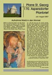 Pfarre St. Georg 170. Aspersdorfer Pfarrbrief - Pfarre Aspersdorf