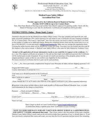 Medical Laser Safety Officer Accredited Post Test - Laser Training