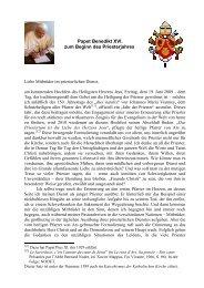 Papst Benedikt XVI - Priesternetzwerk