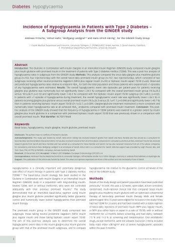 Diabetes Hypoglycaemia - Touch Endocrinology