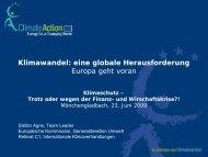 Klimawandel: eine globale Herausforderung Europa geht voran