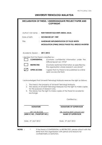 utm fke thesis The thesis is the property of universiti teknologi malaysia 2 the library of  universiti teknologi malaysia has the right to make copies for the purpose of.