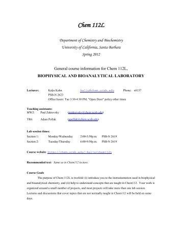 chemistry 422 biochemistry laboratory manual rh yumpu com General Chemistry Lab General Chemistry Lab