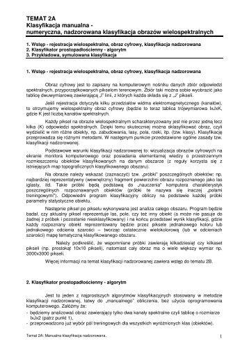 TEMAT 2A Klasyfikacja manualna - numeryczna, nadzorowana ...