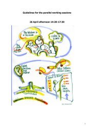 Guidelines for the parallel working sessions 26 April afternoon 14:30 ...