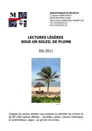 LECTURES LÉGÈRES SOUS UN SOLEIL DE PLOMB Eté 2011