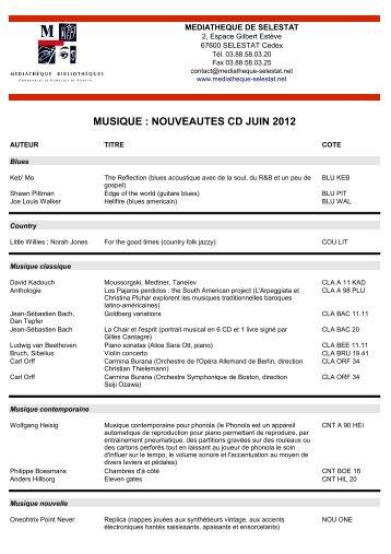 MUSIQUE : NOUVEAUTES CD JUIN 2012