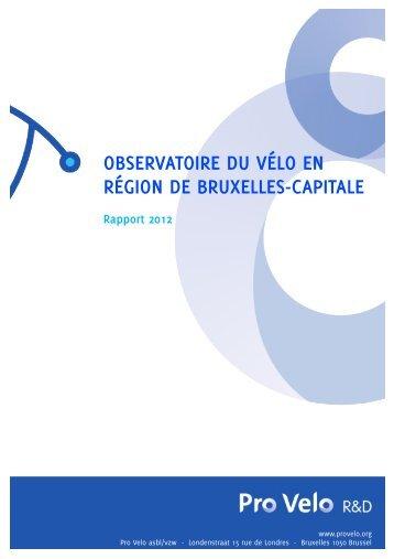 observatoire du vélo en région de bruxelles-capitale - Pro Velo