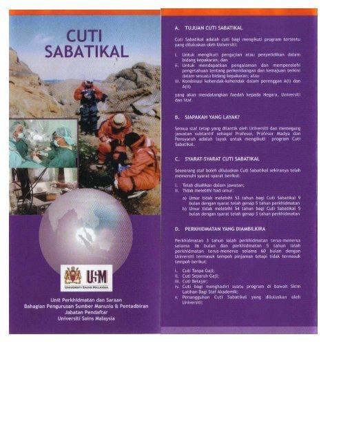 CUTI SABATIKAL - Jabatan Pendaftar - Universiti Sains Malaysia